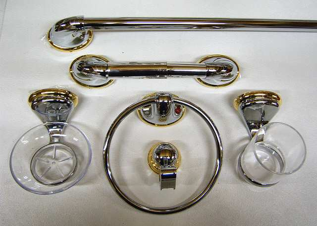 bathroom set gold chrome 6 piece scs - Gold Bathroom Accessories Uk